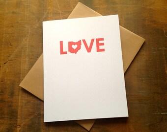 Love Ohio Letterpress Card