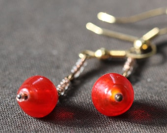 Simple glass earrings, intense orange glass, brass and copper glass earrings