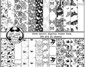 Birds and Butterflies Black and White Digital Scrapbook Paper in Free Spirit, 12x12