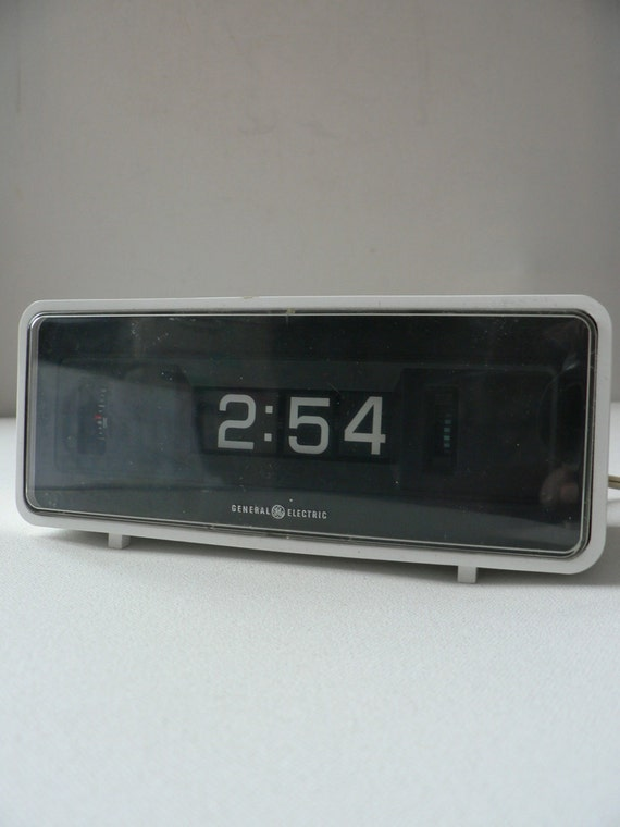 Vintage 1960s 1970s white flip alarm clock by by White flip clock