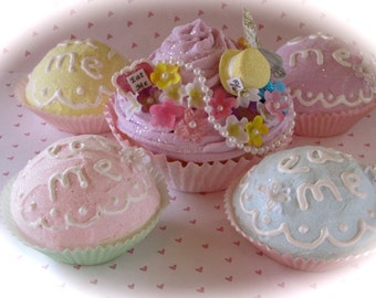 """Alice In Wonderland Inspired """"Mad Hatter's Tea Party Decor Package"""" (1) Jumbo Lilac Fake Cupcake (4) Eat Me Cupcakes Fab Wedding/Party Decor"""