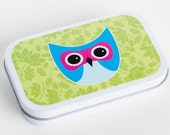 LITTLE OWL-Lime Green (Empty Gift Tin/Altered Tin/Altoid Tin/Pill Box)