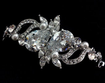 Pearl Bridal Bracelet, Cz Wedding Bracelet, Swarovski Bridal Jewelry, Crystal Wedding Jewelry, Cubic Zirconia Bracelet, Silver Bracelet LOVE