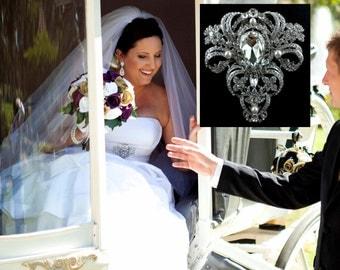 Victorian Wedding Broach, Statement Bridal Brooch, Damask Dress Pin, Rhinestone Crystal Jewelry, VICTORIA