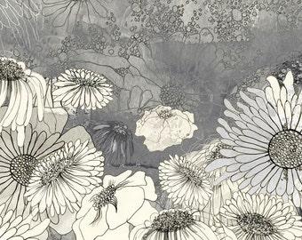 At Night in Iza's Garden - floral illustration