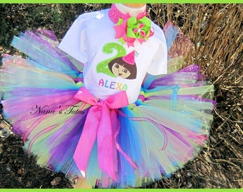 Birthday Dora,Party Hat,Number,Party Outfit, Theme Party, Tutu Set, Photo Shoots in Size 1yr thru 6yrs