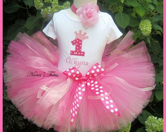 Custom Party Outfit, Princess Crown with Number, Princess Party. Theme Party in Sizes 1yr thru 5yrs