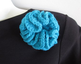 Turquoise textile brooch blue fabric pin hand crochet textile jewellery
