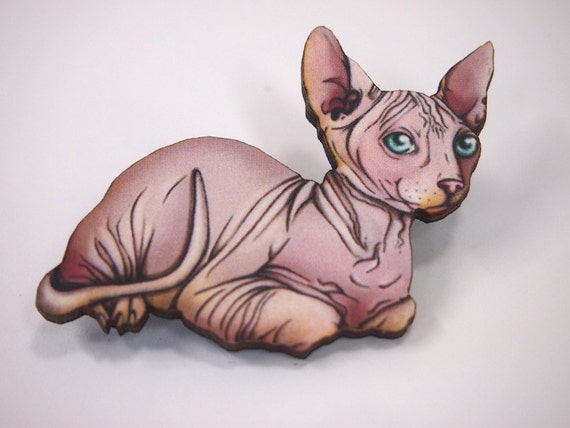 Hairless Sphynx Cat Laser Cut Wood Brooch