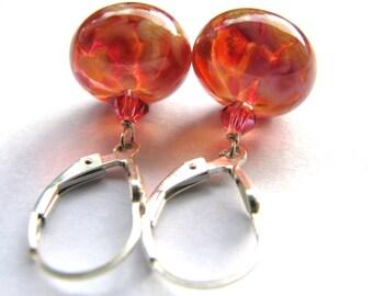 Pretty Apricot Lampwork Earrings, Short Dangle Earrings, Swarovski Crystals, Sterling Silver Earrings, Womens GIFT, READY To Ship