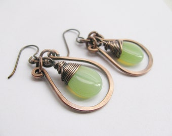 Wire Wrapped Czech Glass Teardrops with Hammered Copper Hoops- your choice of 11 colors