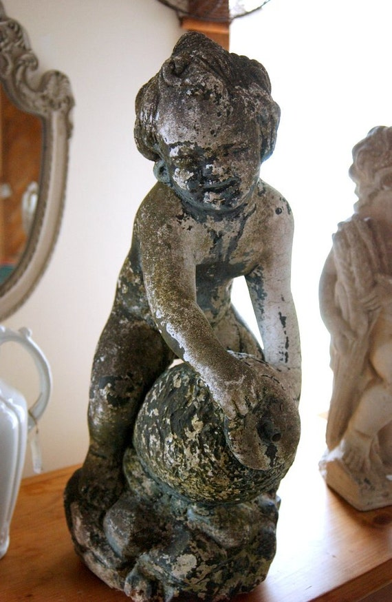 Antique Garden Statue Angel Cherub Fountain By