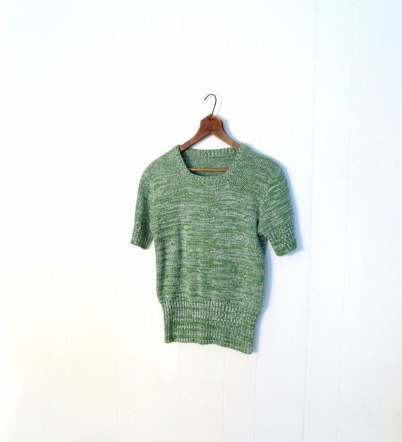 Space Dyed Sweater / 1970s Sweater / Spring Green / Short Sleeve Sweater / M L