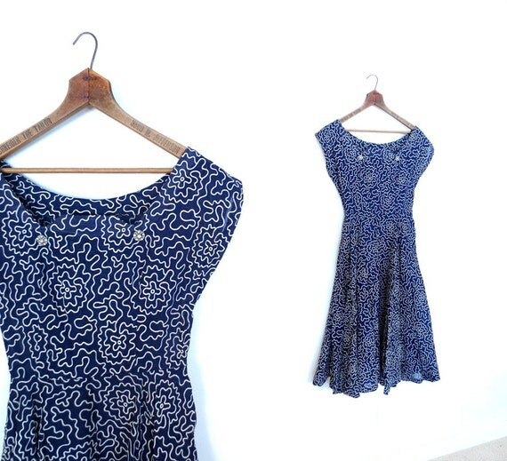 Vintage 1950s Dress / 50s Dress / Navy Blue Dress / Flocked Voile / Rhinestone Buttons / XS