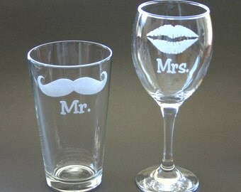 Mr Mrs His and Hers Etched Glasses Lips Moustache Engraved Goblet Beer Pint