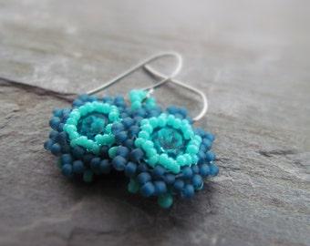 BLAIR-Blue Swarovski Crystal with Aqua & Blue Seed Bead Chandelier Earrings