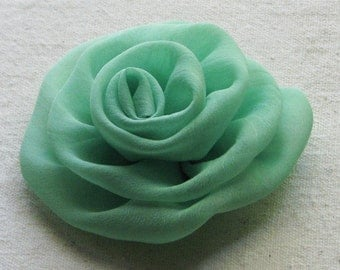 Rose hair clip  in mint green chiffon, medium