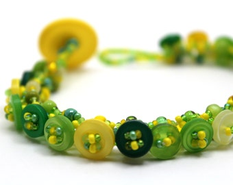 Beaded Bracelet - Button Embellished - Spring Lime Green Yellow by randomcreative on Etsy