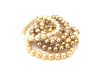 Four Gold Five Stack Swarovski Pearl Stretch Stacking Bracelets Set of 5 classic elegant chic glamorous sophisticated stackable stack