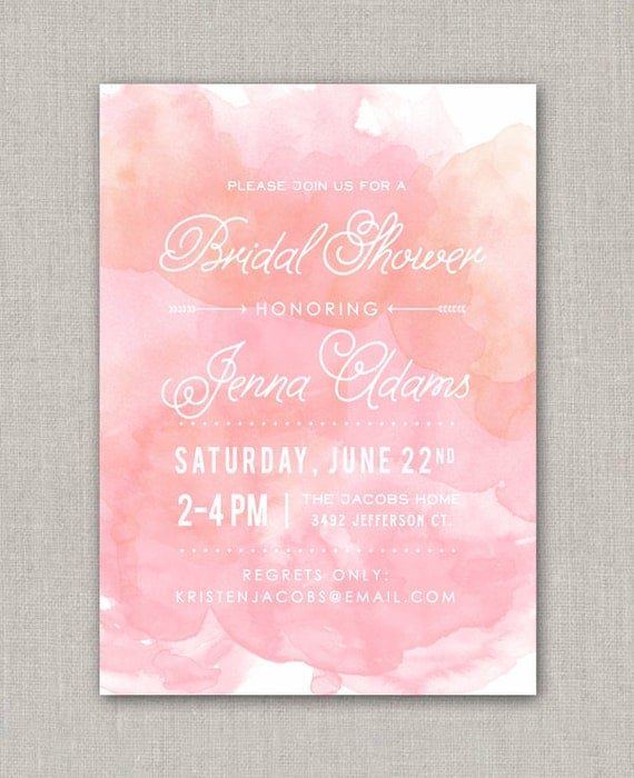 watercolor bridal shower invitation by announcingyou on etsy. Black Bedroom Furniture Sets. Home Design Ideas