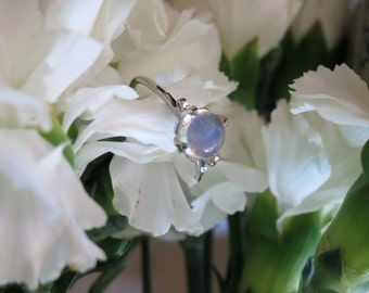 The Lotus Ring in 18K White Gold with Natural Blue Sheen Moonstone, Made to Order