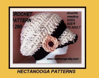 crochet, pattern, hat, SLOUCHIE NEWSBOY HAT, women's accessories, craft supplies,  num. 290,  permission to sell your finished garment
