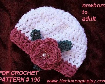 HAT CROCHET PATTERN newborn to adult , number 190, Beaded Rose Beanie instant digital download