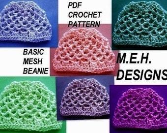 251. Crochet Pattern, BASIC MESH BEANIE, ....Newborn to Adult, Sport Weight Yarn