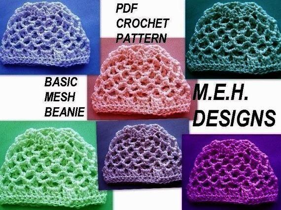 251. Crochet Pattern, BASIC MESH BEANIE, ....Newborn to ...