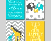 Boy Girl Nursery Art - First We Had Each Other, Elephant Family, This Is Our Happily Ever After, Chevron Giraffes - Set of Four 8x10 Prints