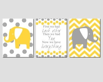 Nursery Art Print Trio - First We Had Each Other, Polka Dot and Chevron Elephants - Set of Three 8x10 Prints - CHOOSE YOUR COLORS