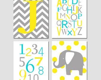 Modern Nursery Quad - Set of Four 11x14 Prints - Chevron Monogram, Modern Alphabet, Numbers, Polka Dot Elephant - CHOOSE YOUR COLORS