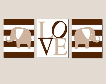 Elephant Stripe Love Nursery Decor Art Trio - Set of Three 8x10 Nursery Prints - CHOOSE YOUR COLORS - Shown in Brown, Gray, and More