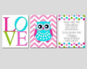 Kids Wall Art - Set of Three 11x14 Nursery Art Prints - You Are My Sunshine, Chevron Owl, LOVE - Modern Nursery Trio - Choose Your Colors