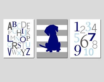 Kids Wall Art - Set of Three 11x14 Prints - Nursery Art - Alphabet, Numbers, Striped Puppy Dog - CHOOSE YOUR COLORS