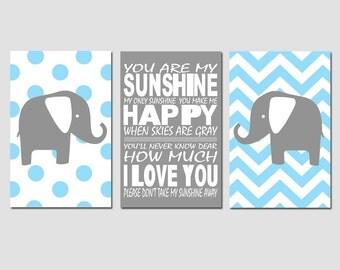Nursery Art Trio - Set of Three 13x19 Prints - Polka Dot Elephant, You Are My Sunshine, Chevron Elephant - Kids Art - Choose Your Colors