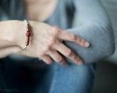 Minimalist bracelet Deep dark garnet red with a hint of gold handmade bracelet Felt fall winter fashion jewelry Jeans style