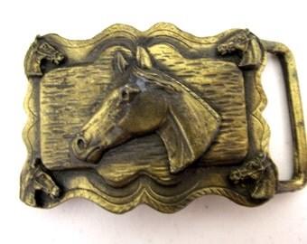 Vintage Brass colored Horse Head belt buckle - western wear