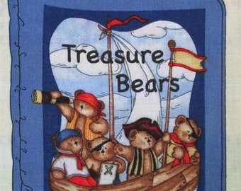 """Cloth Book or Quilt Fabric Panel Treasure Bears by Leslie Beck for Springs BTY 45"""" wide"""