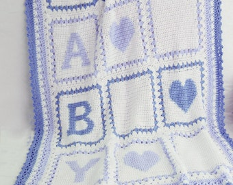 Baby Alphabet Blocks Afghan Crochet Pattern PDF