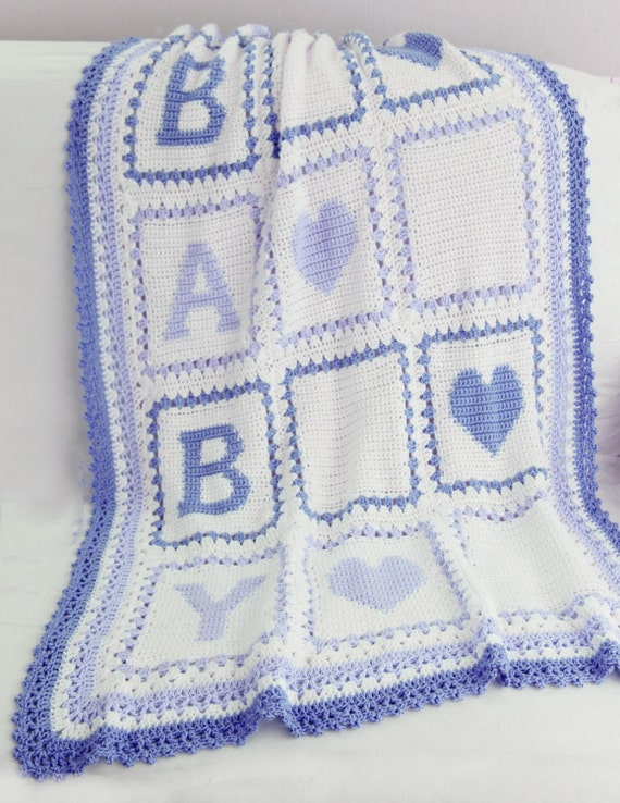 Knitting Pattern Alphabet Blanket : Baby Alphabet Blocks Afghan Crochet Pattern PDF