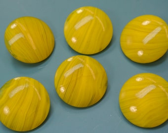 Lot of 6 vintage 1950s unused clear yellow glass buttons with backside selfschranks for your sewing prodjects