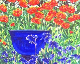 Impasto Acrylic Painting - The Blue Bowl in Marj's Garden
