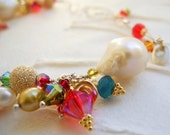 Pearl Bracelet Sterling Silver Bracelet Colorful Bracelet Crystal Bracelet Gold Fill Multicolor Swarovski Crystal