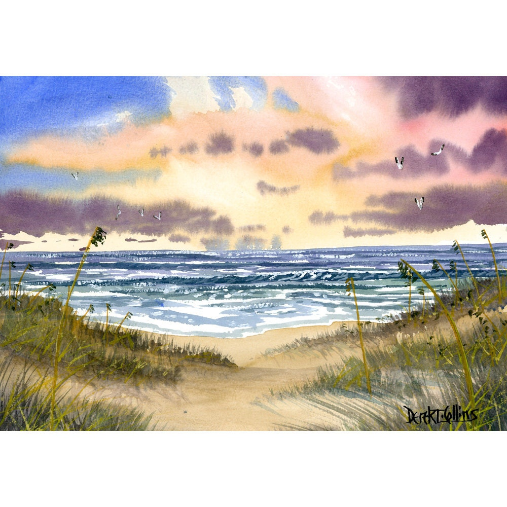 ocean painting sea oats original watercolor seascape painting On ocean watercolor painting