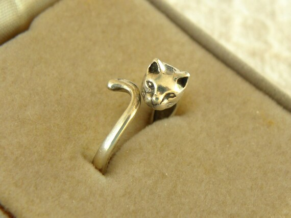 vintage sterling silver cat ring size 5 to size by