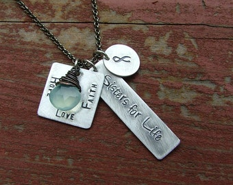 Hope Love Faith Sisters for Life Cancer Support Necklace  with Wire Wrapped Blue Chalcedony by MyBella