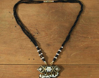Vintage Indian Black and Gold Necklace