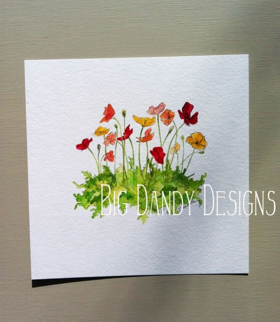 Whimsical Poppy Patch- Original watercolor