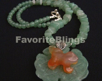 Frog Prince OOAK Carved Carnelian Necklace Green Aventurine Lily Pad Adventurine Nuggets Unique Whimsical FavoriteBlings Handmade